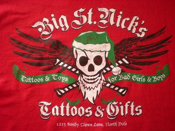TATTOOS & TOYS for BAD Girls and Boys Xmas TShirt by bohemianrag, $14.95