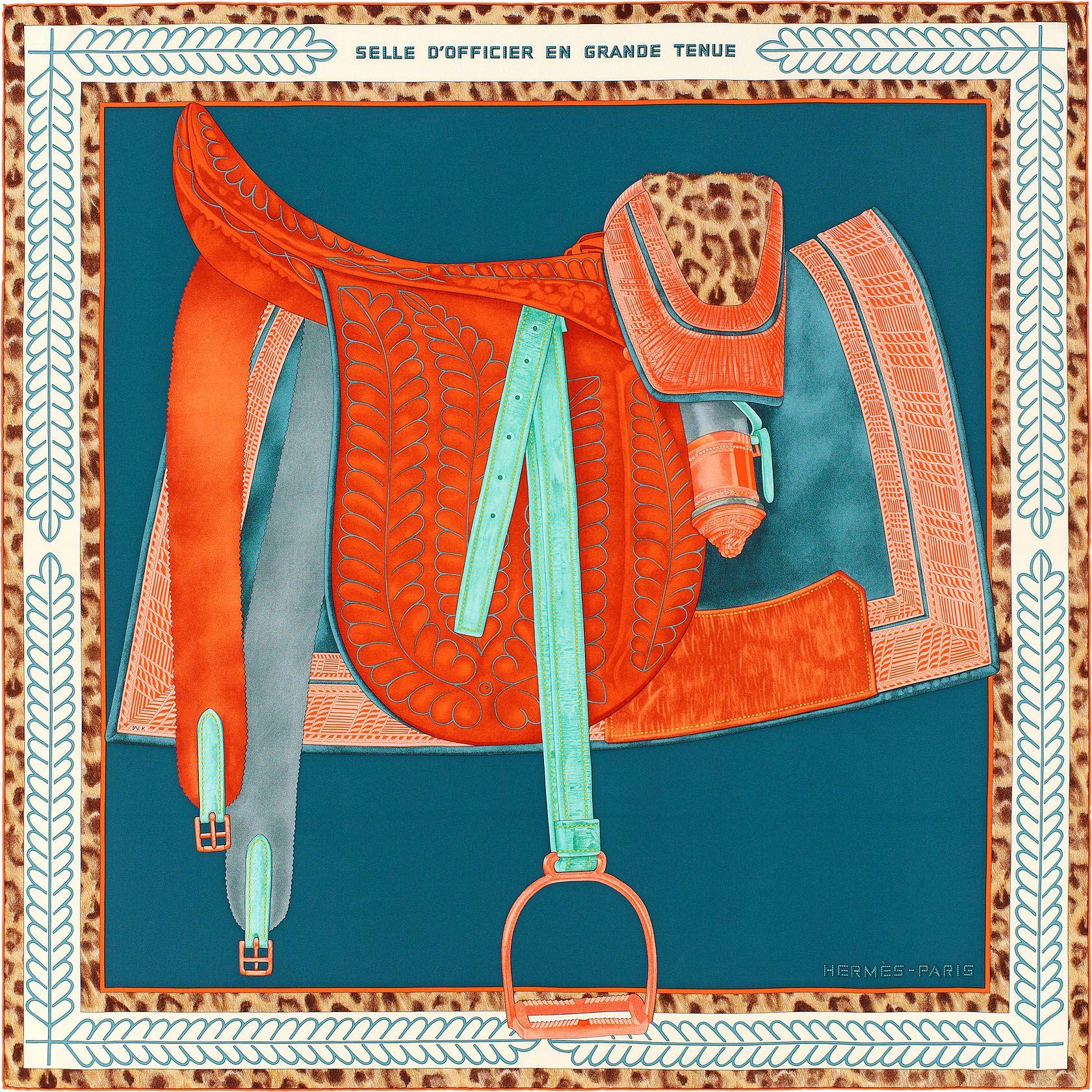 Carré 90 x 90 cm Hermès   Selle d Officier en Grande Tenue   carrés ... bd2506e3bc8