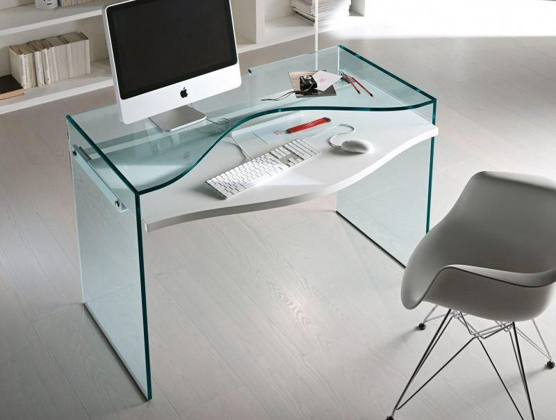 Remarkable Office Tonelli Strata Glass Desk With Imac On It And