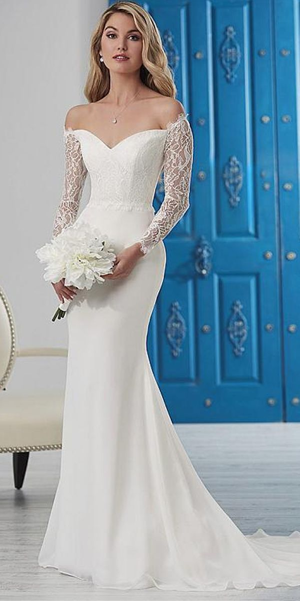 Wedding Dresses Elegant >> Elegant Lace & Chiffon Off-the-shoulder Neckline Mermaid Wedding D...