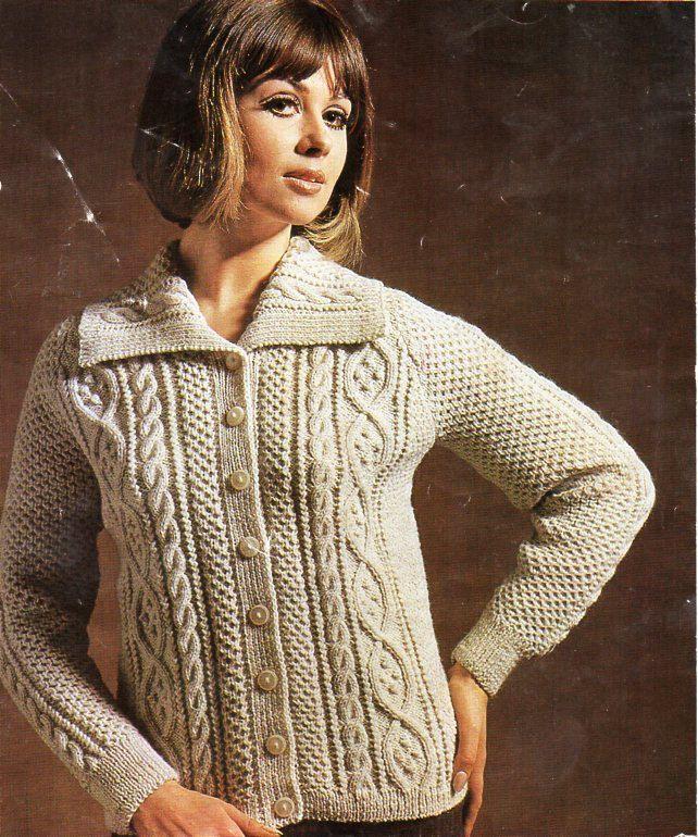 vintage womens aran jacket knitting pattern PDF ladies cable ...