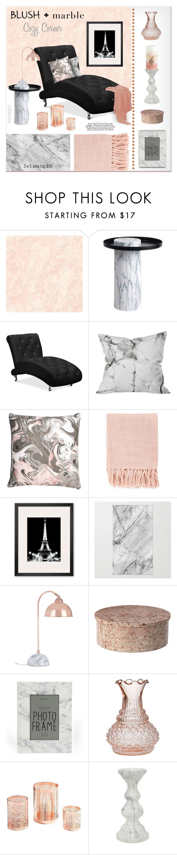 """Blush & Marble Cozy Corner"" by pwhiteaurora ❤ liked on Polyvore featuring interior, interiors, interior design, home, home decor, interior decorating, LA CHANCE, Ryan Studio, Surya and Broste Copenhagen"