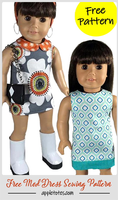 Free American Girl Doll Sewing Pattern - Mod Dress Pattern for 18 Dolls #girldollclothes