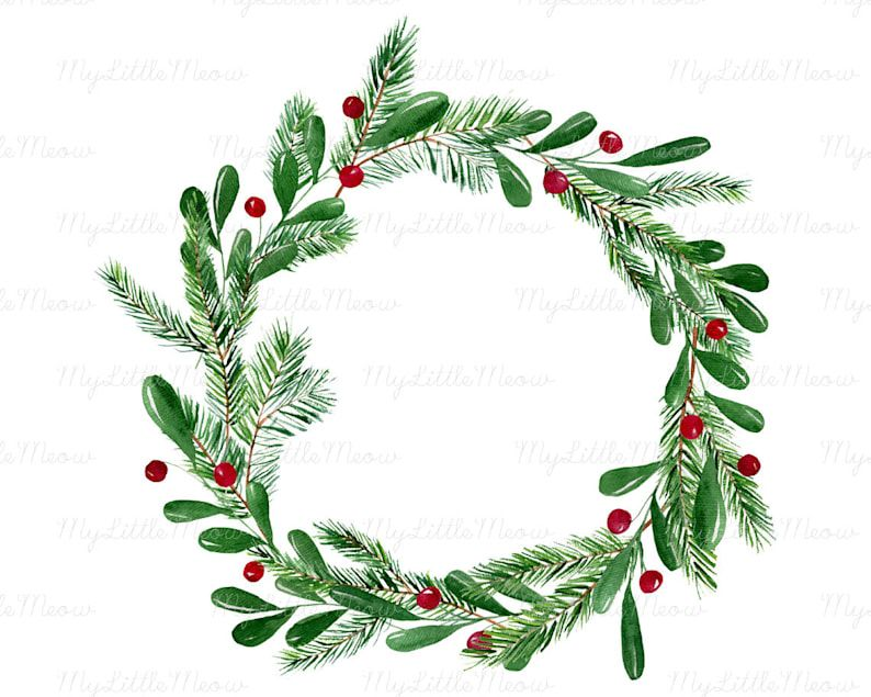 Christmas Watercolor Wreath Clipart Winter Clip Art Winter Digital Download Wreath Png Christmas Decoration Digital Download W43 In 2021 Christmas Watercolor Wreath Clip Art Wreath Watercolor