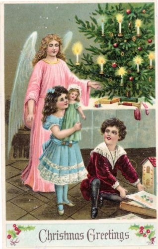 C1910 Pretty Angel Children Toys Under Christmas Tree Embossed