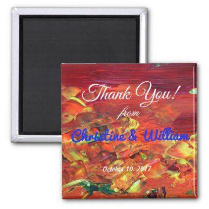 orange yellow artsy thank you wedding magnet thank you gifts ideas