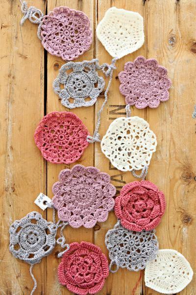 Crocheted flower garland