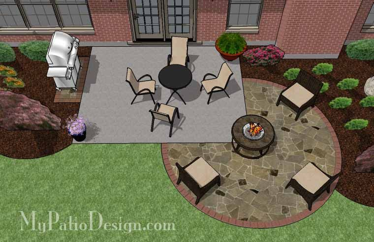 Simply and affordably add a fire pit area or large round dining area to your existing patio with the The DIY Stone Circle Patio Design. Layout & material list. #patiodesign