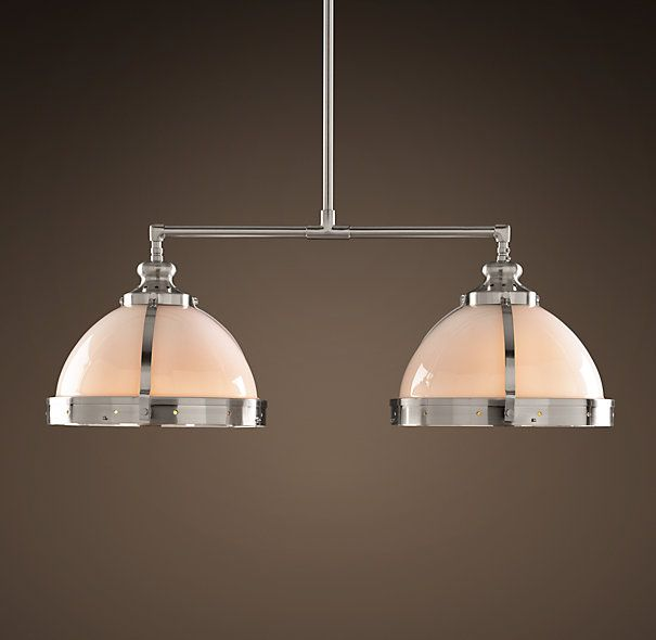 "Kitchen Pendant Lighting Over Sink: Clemson Classic Double Pendant 8"" Polished Nickel"