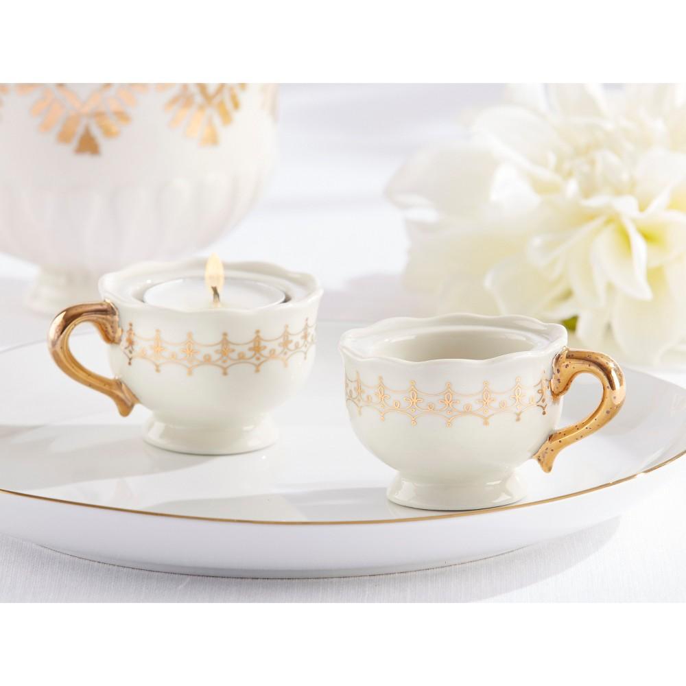 Kate Aspen Classic Gold Teacups Tealight Holder - Set of 12, White ...