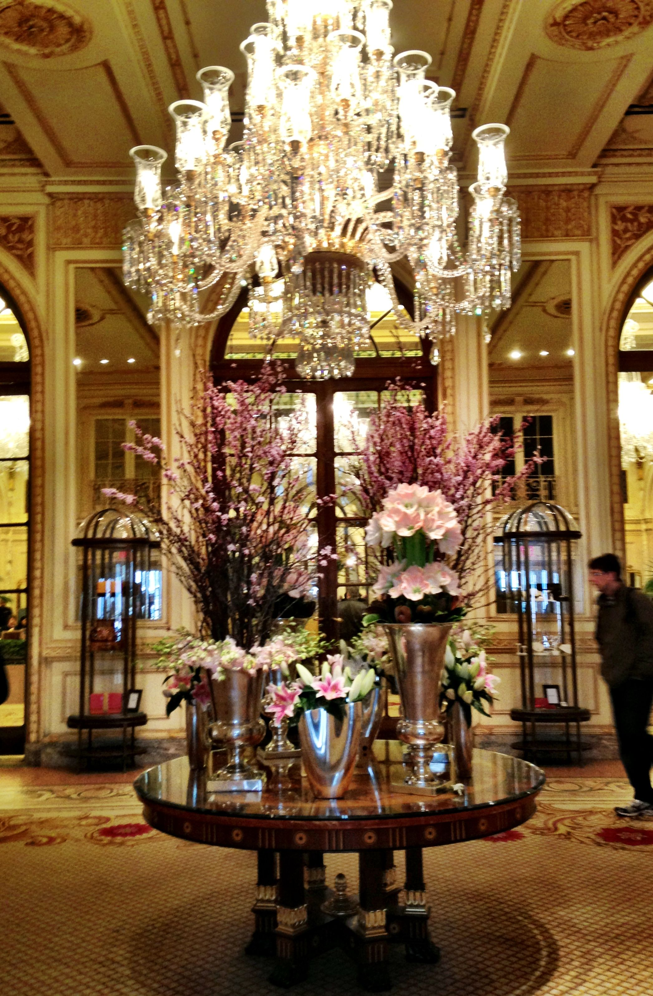 The flowers in The Plaza Hotel lobby were fresh and