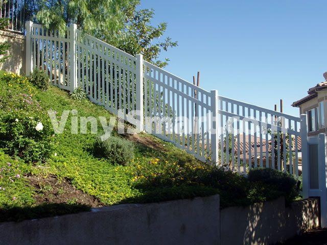 Vinyl Picket Fence On Slope Racking Fences In 2019