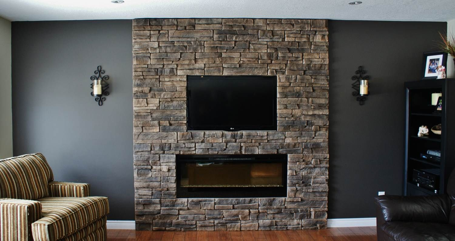 install stacked thrifty on stone tile a diy wall from to how fireplace electric