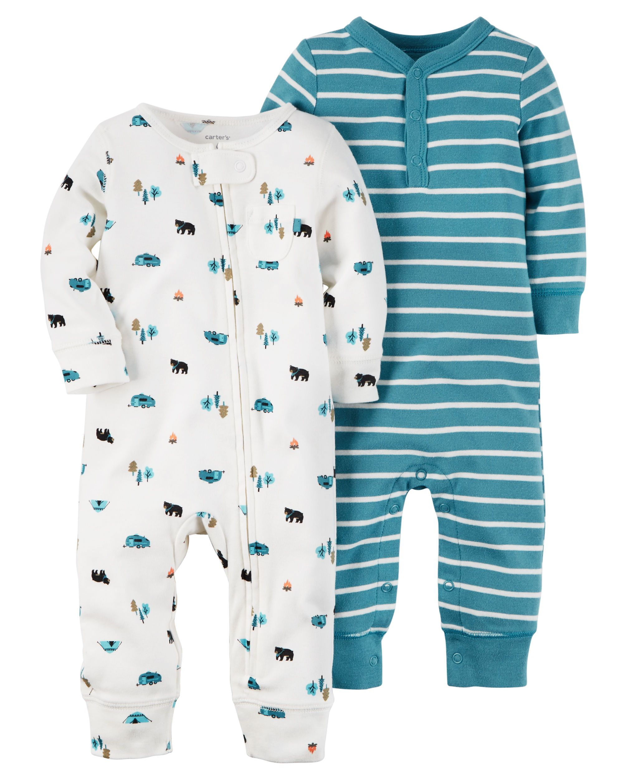Carters Baby Boys 2-Pack Cotton jumpsuits Coveralls Set Blue