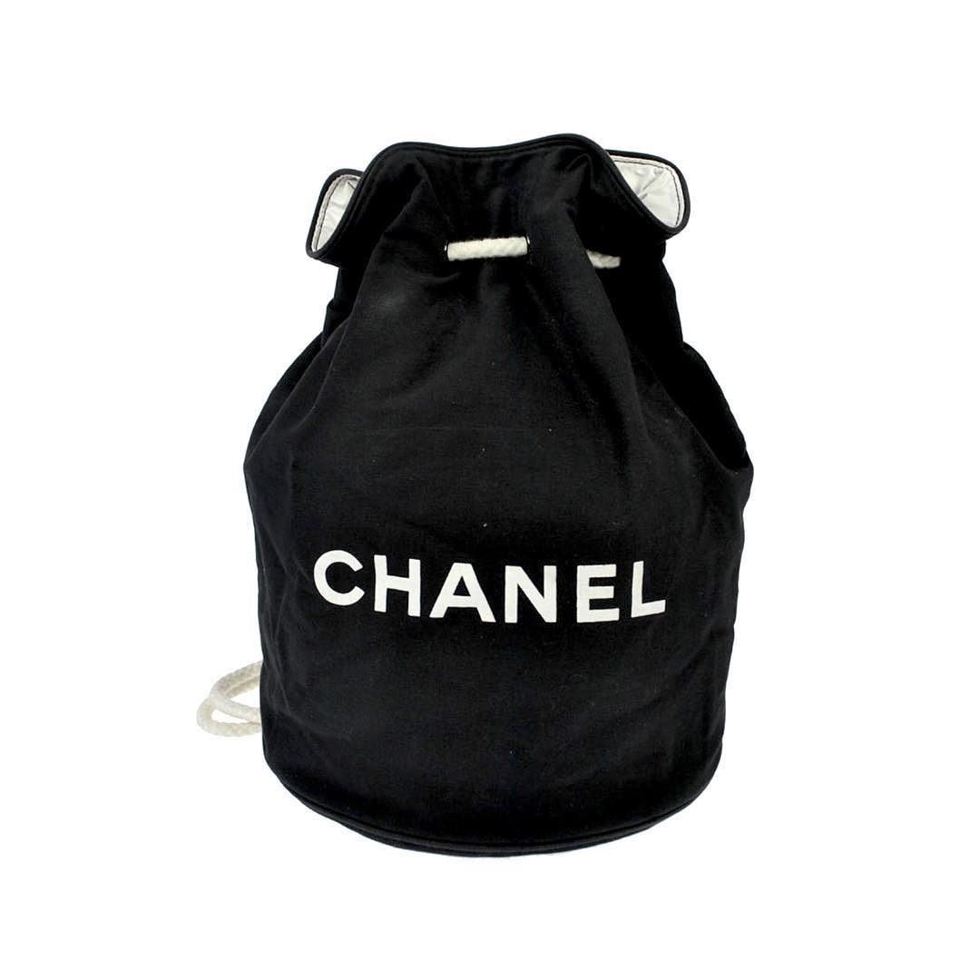 Treasures Of New York City On Instagram Chanel Large Bucket Style Backpack Or Shoulder Bag Black Canvas Vip Gift From Chanel Bags Fashion Backpack Chanel