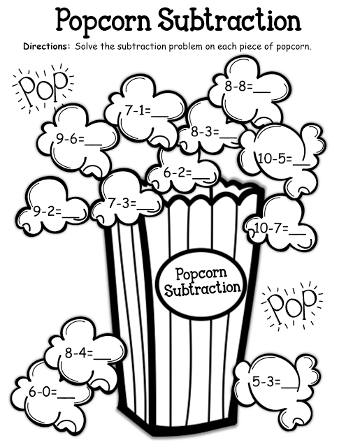 Popcorn Subtraction! // Fun to do with real popcorn