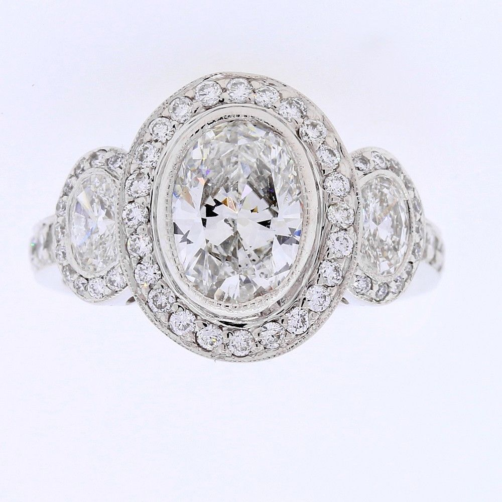 2.70 Tcw Oval Cut Diamond Engagement Halo Ring in 18k White Gold #DiamondsByAl #SolitairewithAccents