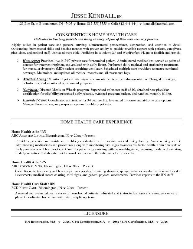Home Health Aide Resume Sample Nursing  Home Design Idea