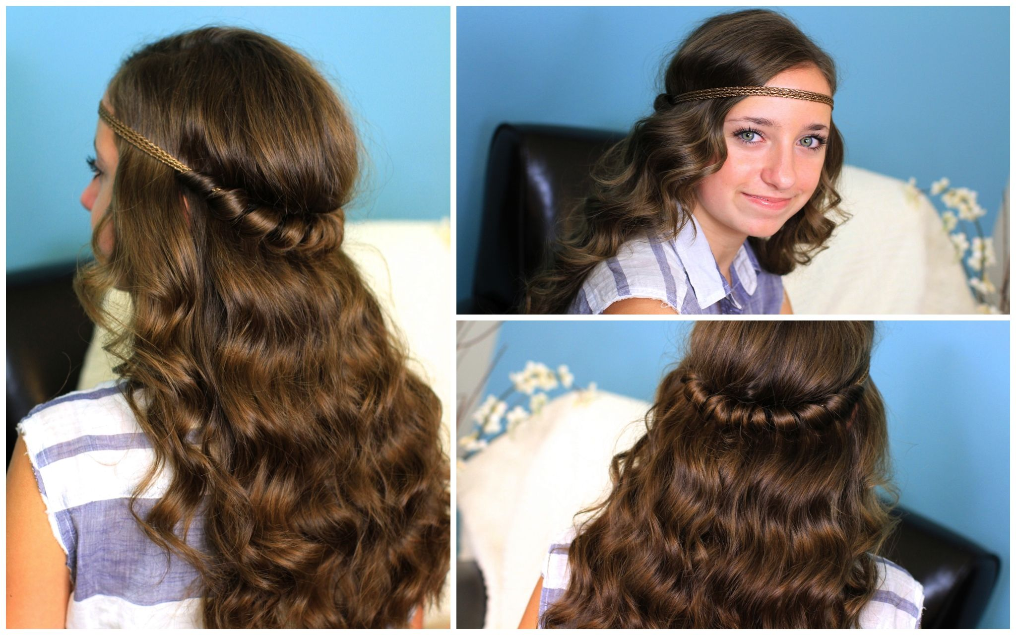 Headband twist half up half down hairstyles and more hairstyles