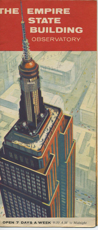 Vintage Brochure Empire State Building Observatory Dimension - Nyc map empire state building