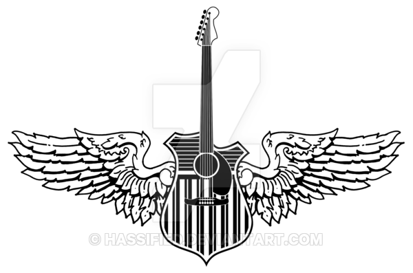 Winged Guitar by https://www.facebook.com/scott.hassler.art | Custom Tattoo Designs #custom #tattoo #design #inspire #ink #bodyart #art #hassified #michael #scott #hassler #graphic #illustration #graphic