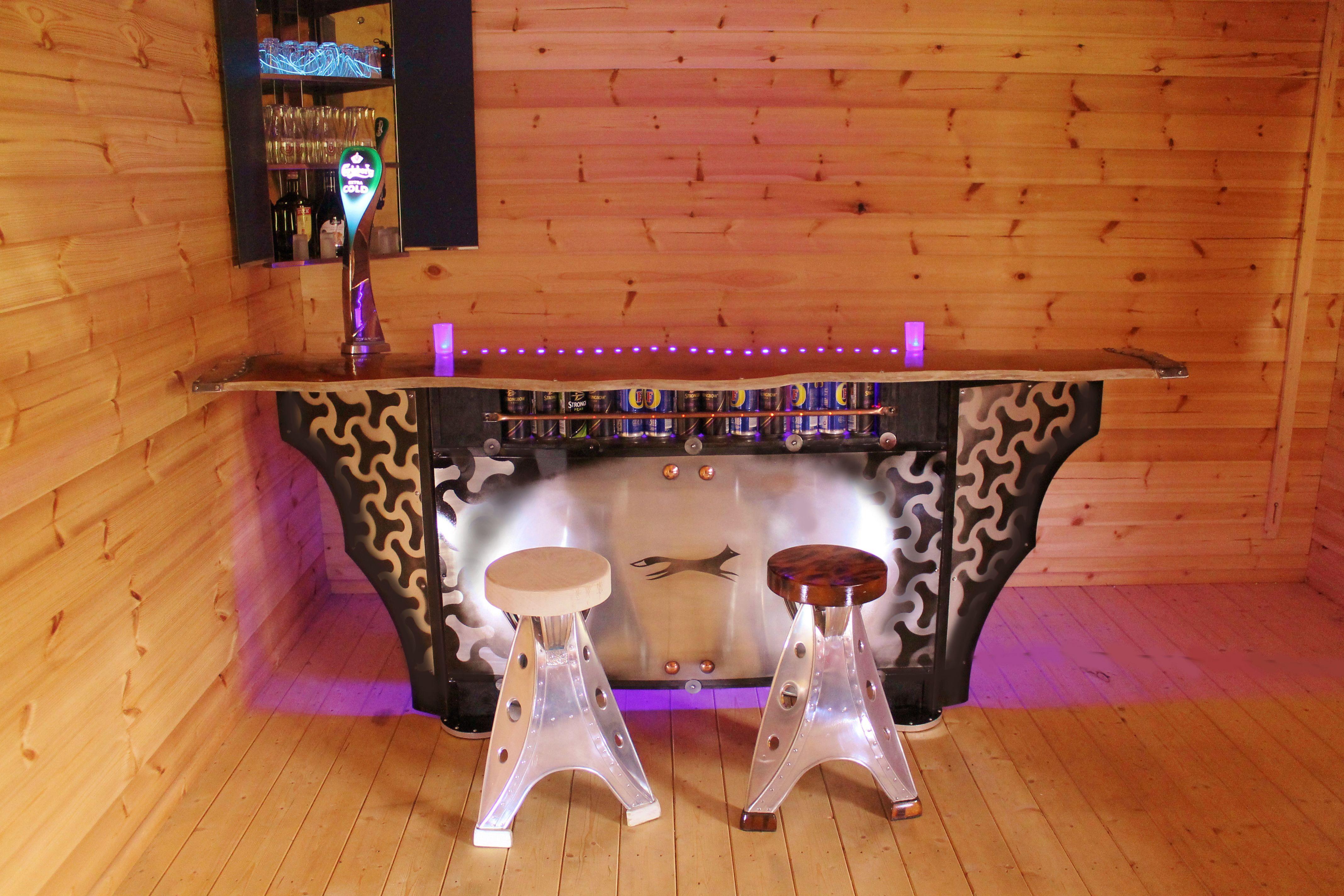Log Cabin Bar from Foxcovet Metal design, Metal stool