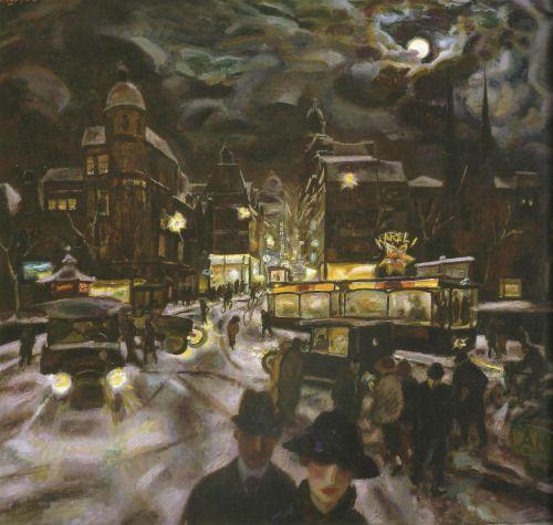 The Koningsplein in Amsterdam by Night -  Jan Sluijters 1925Dutch 1881-1957