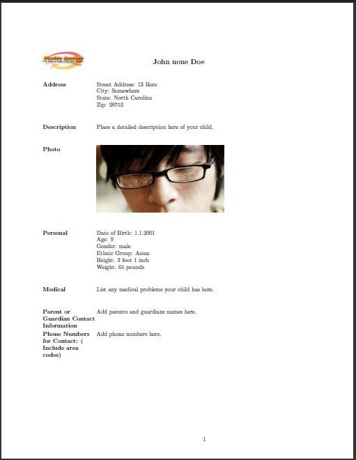 Child's Amber Alert ID