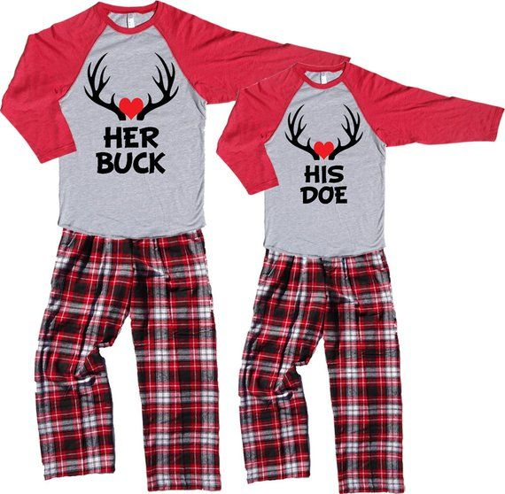 His And Hers Matching Christmas Pajamas: Heart Lovers His DOE & Her BUCK Fun Couples Novelty