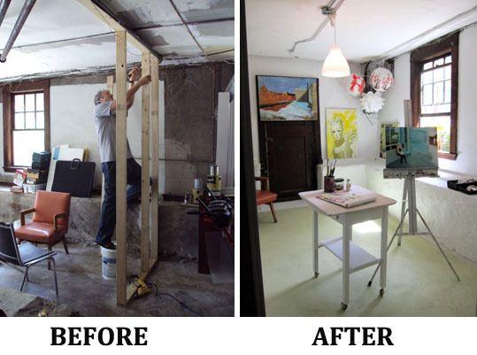 Before Amp After Basement Turned Light Filled Art Studio