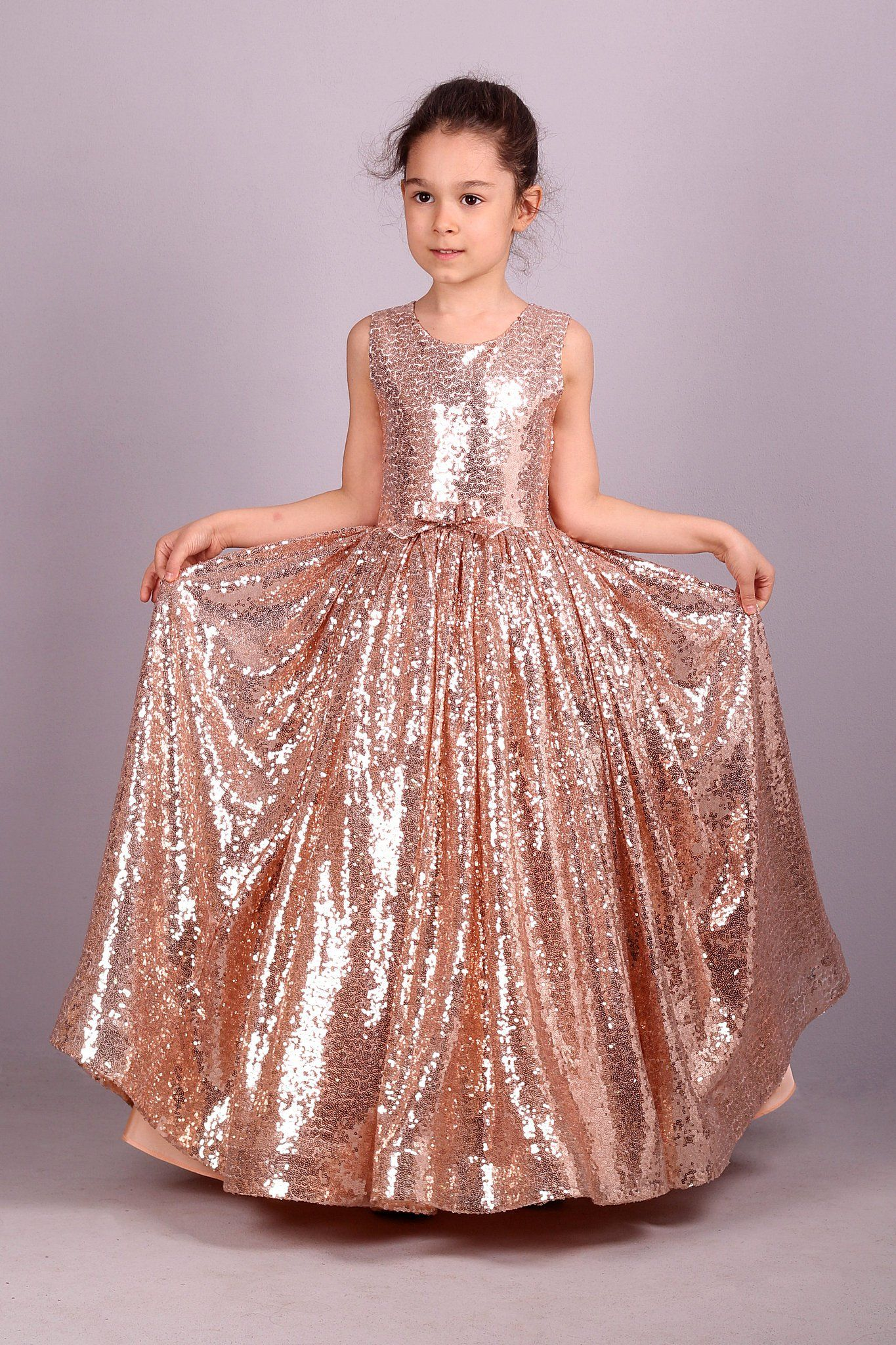 Sparkly Tutu Rose Gold Sequins Princess Dress2017Flower Girl Dresses Formal Gown