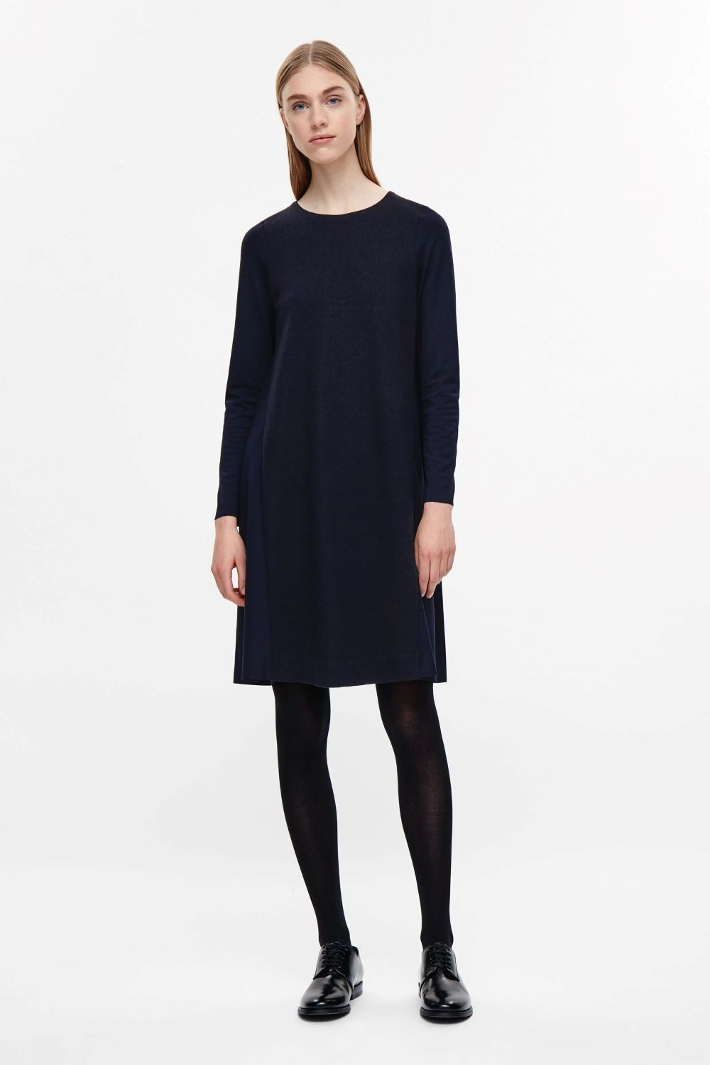 Cos image of contrast panel jersey dress in navy work style