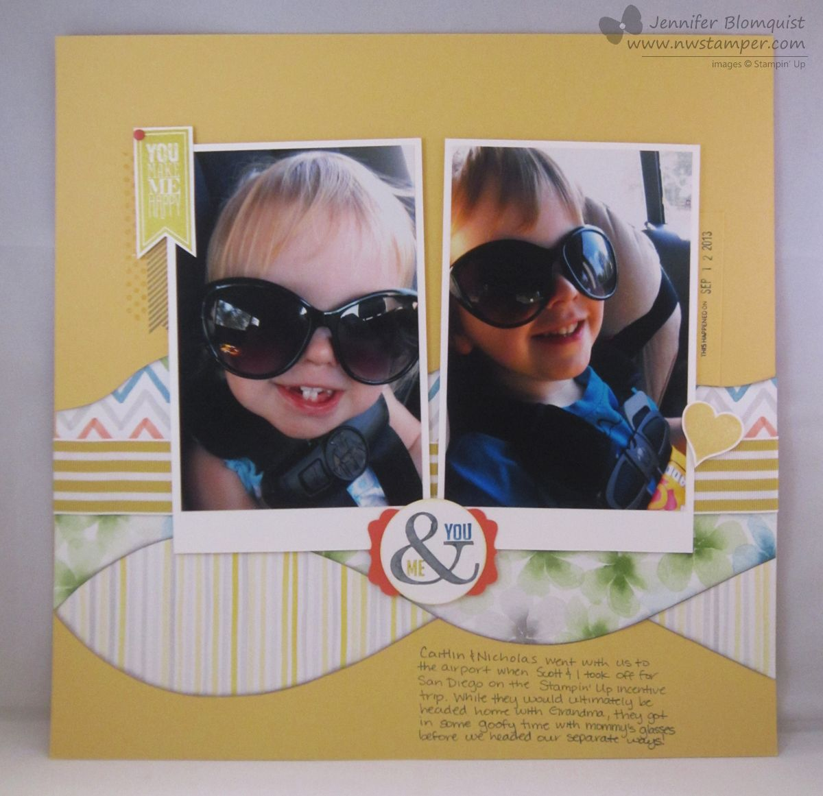 Perfect pennants and watercolor wonder kids scrapbook page by Northwest Stamper