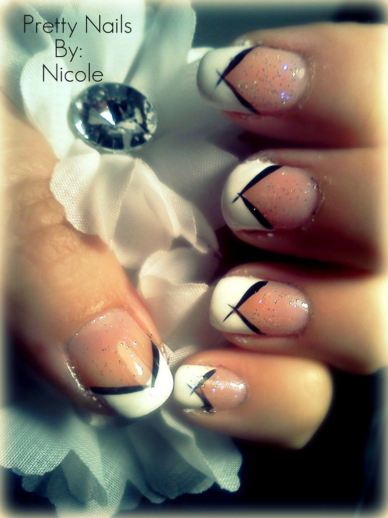 Fancy White V French Nail Art Design Idea With Black Lines And ...