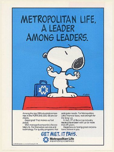Metlife Life Insurance Quote 1986 Peanuts Snoopy Met Life Insurance A Leader Among Leaders Schulz