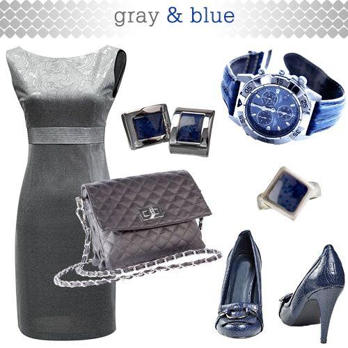 Gray Dress and Dark Blue Accessories