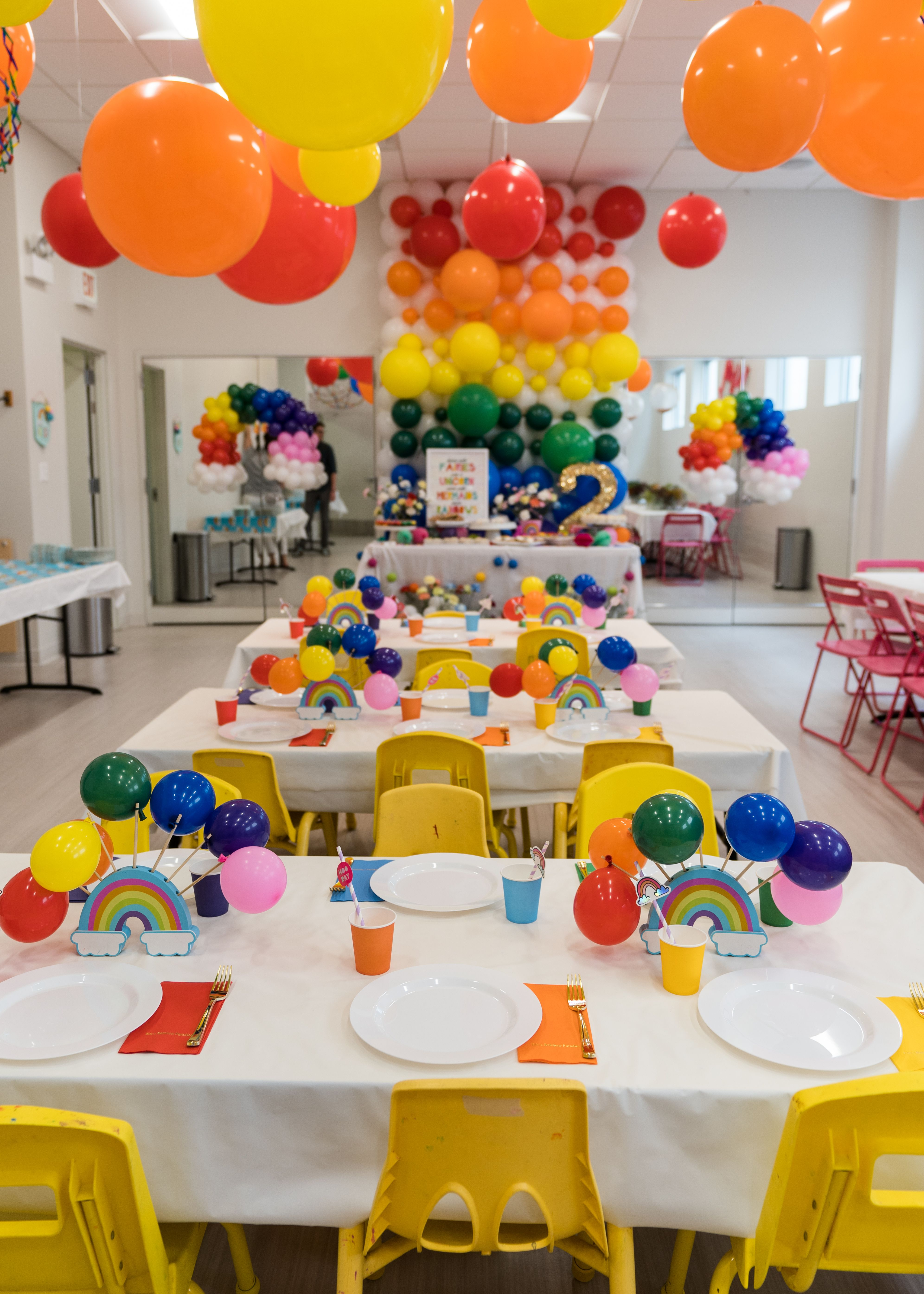 Rainbow Themed Birthday Party At Bubbles Academy Chicago Designed By Gromeza Designgs