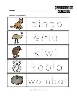 Australian Animals Trace the Words Worksheets