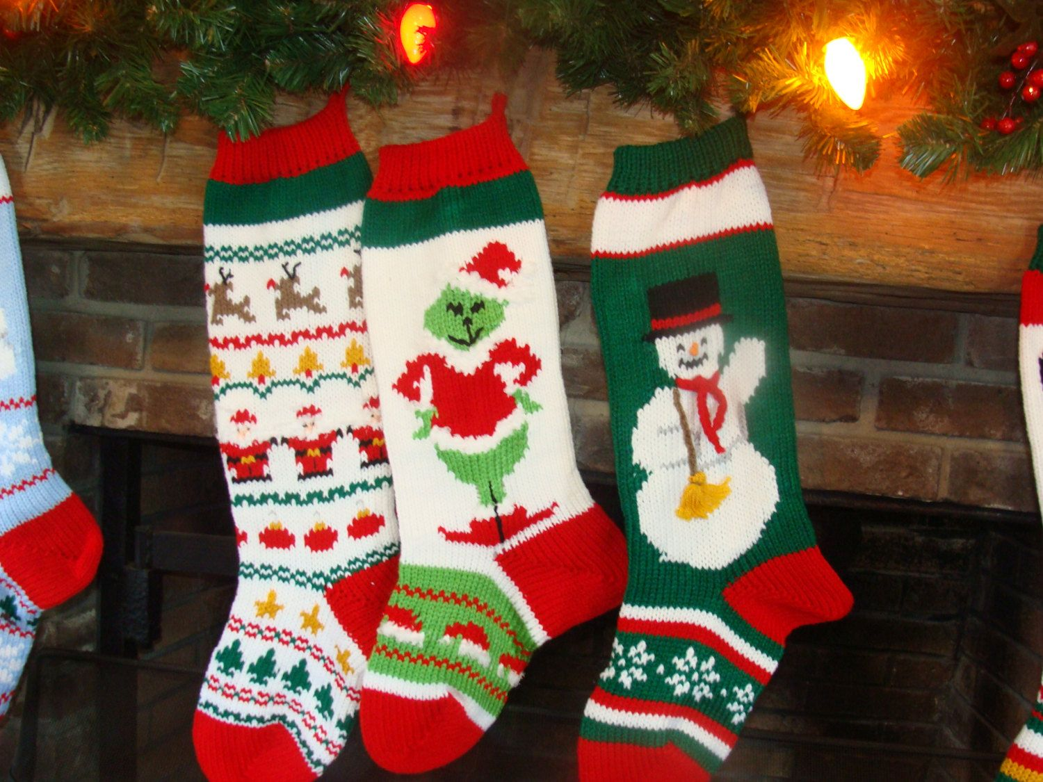 Hand knit christmas stocking with sweater pattern grinch snowman hand knit christmas stocking with sweater pattern grinch snowman bankloansurffo Choice Image