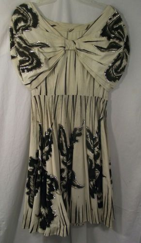 Vtg 40s 50s Womens Mexican EMBROIDERED Hand Painted DRESS Medium BEAUTIFUL!