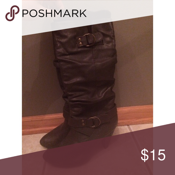 Last Chance Make Offer On Shoes Brown Heels Heel Boots And Size 10