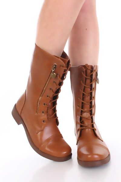 Tan Combat Boots For Women - Cr Boot