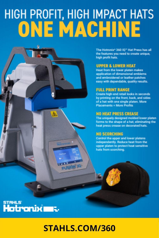 Heat Press For Hats Hotronix 360 Iq Hat Press In 2021 Heat Press Heat Transfer Vinyl Heat