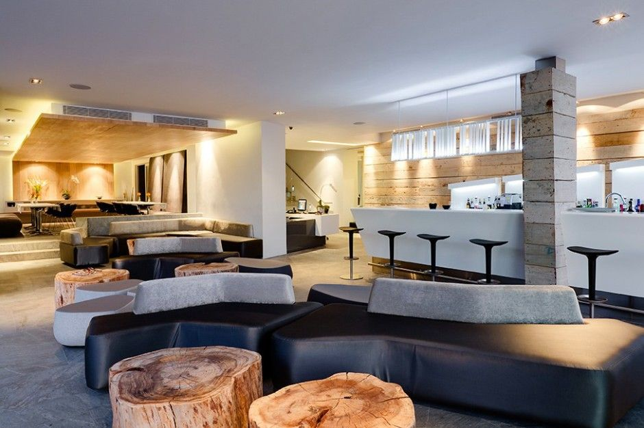 Hotels Perfect Furniture Design With Leather Bench Furniture Combined With  Rustic Wooden Coffee Table In Modern
