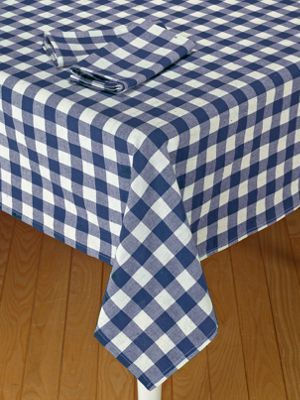 Blue And White Gingham Tablecloth  Cotton