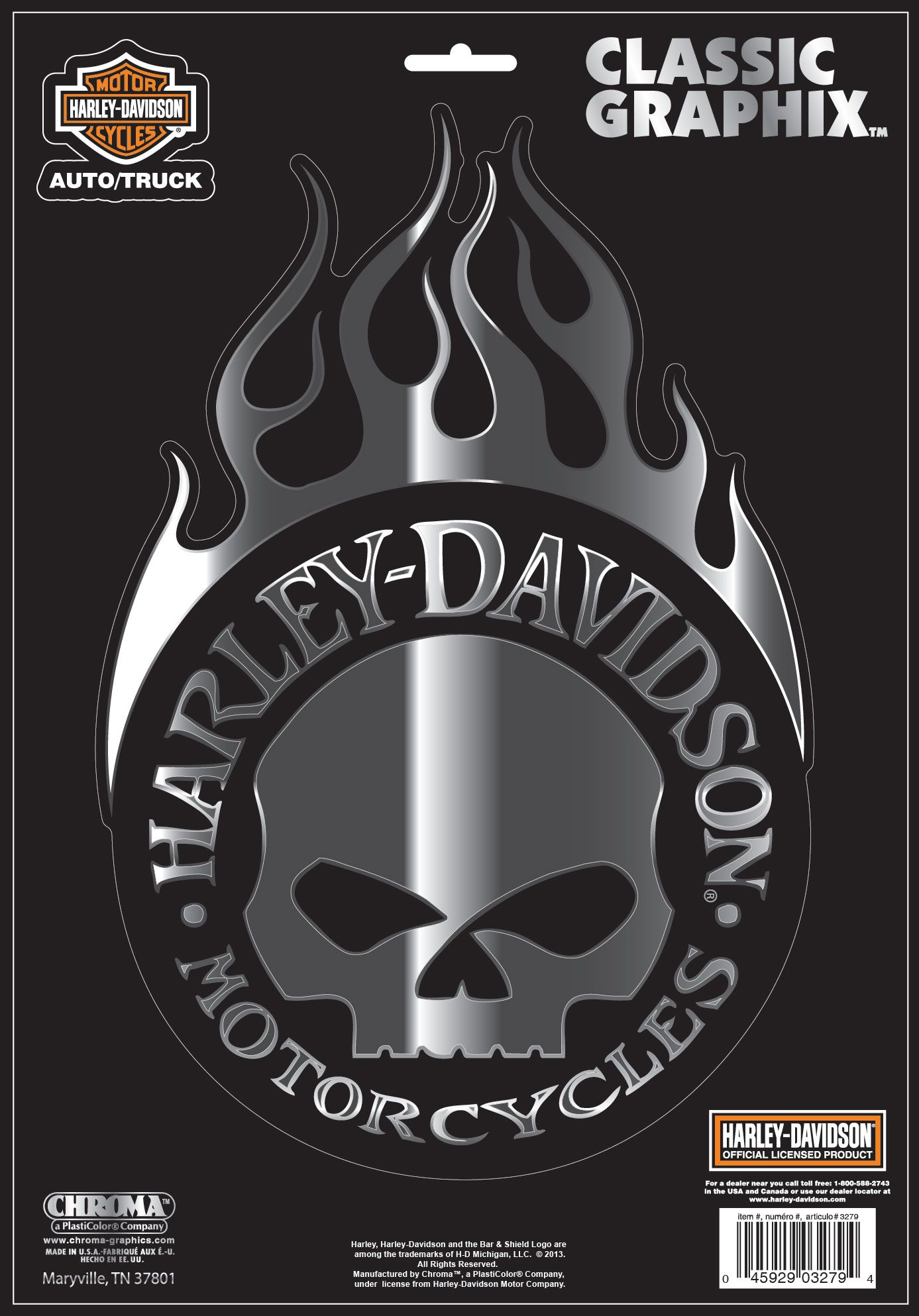 Harley Davidson Willie G Skull With Flames Decal Large