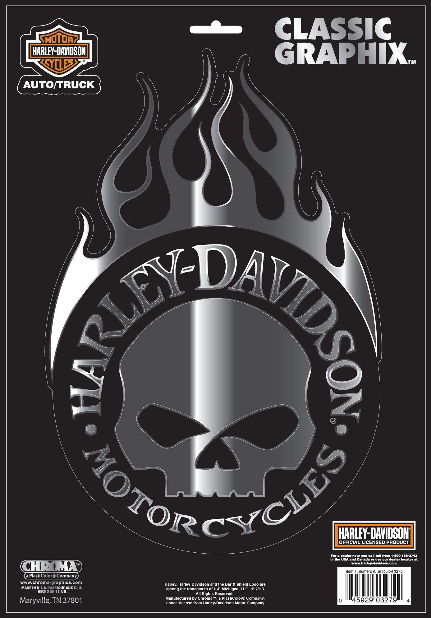 harley davidson willie g skull with flames decal large. Black Bedroom Furniture Sets. Home Design Ideas