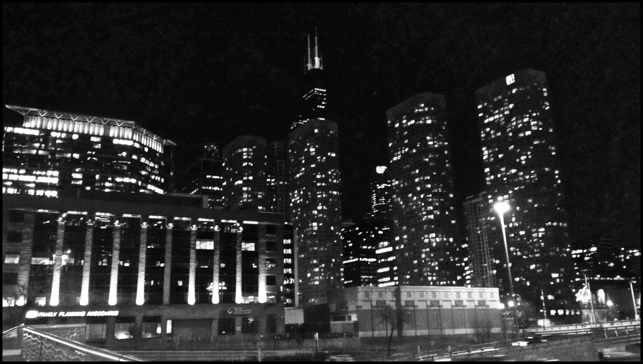 Sears Tower at night looking East - Chicago, IL - Black & White