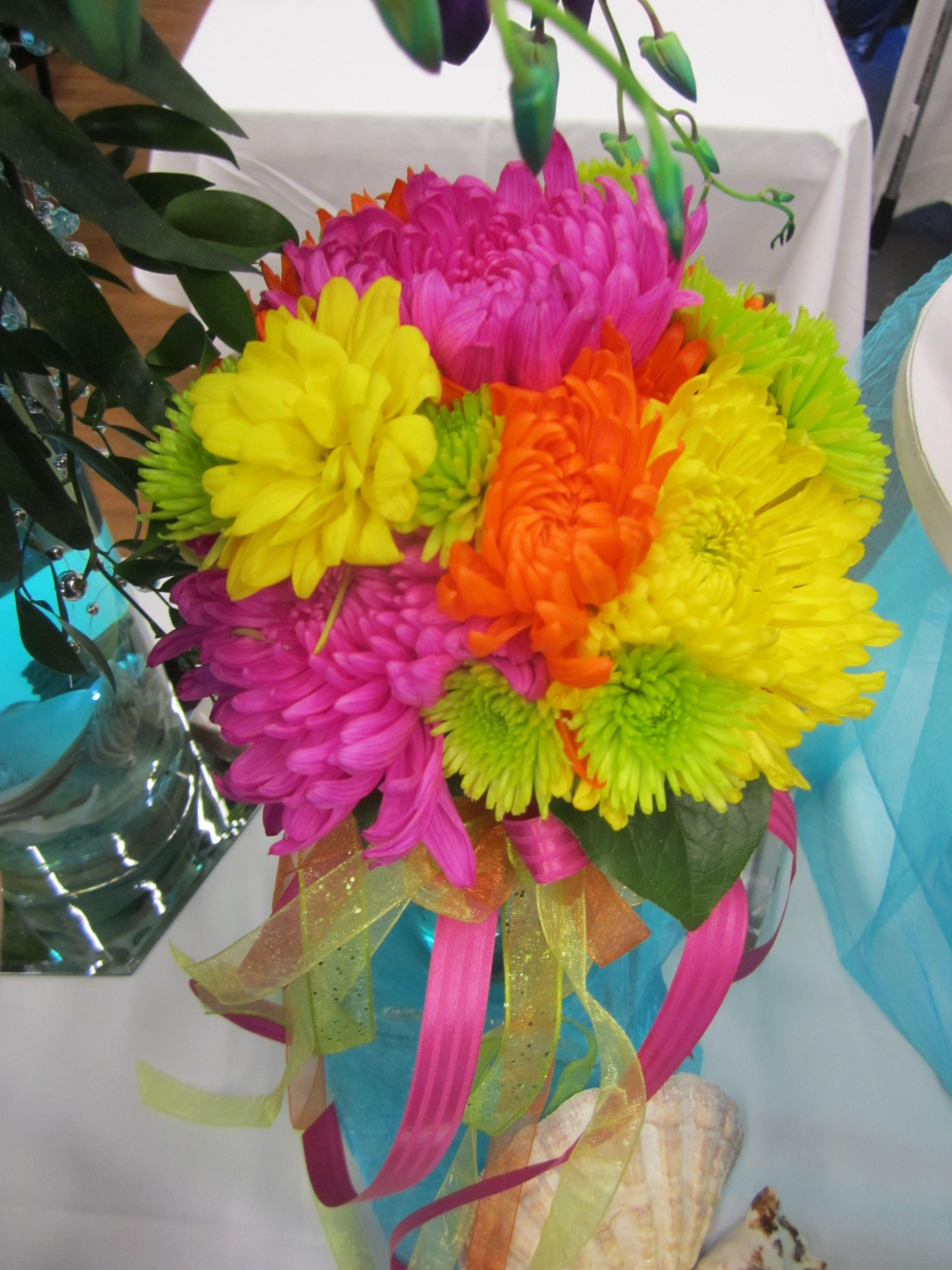 Neon Daisy Bouquet Indpendence Bridal Fair Weddings Pinterest