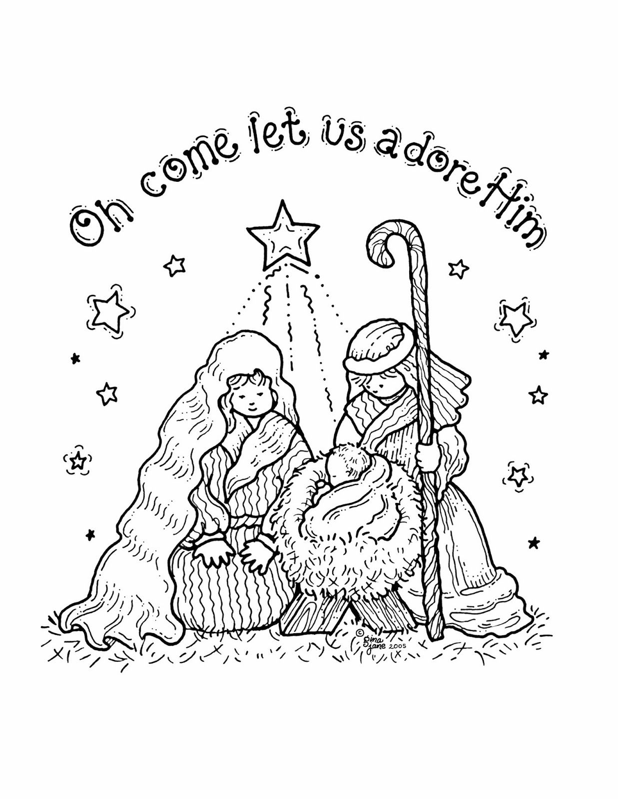 Small Nativity Coloring Page